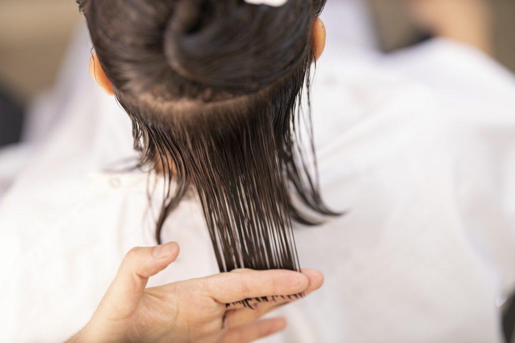 Haare werden gehalten beim Schneiden