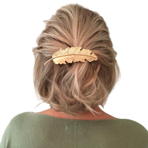 Haarspange, silber, Blatt, natürlich